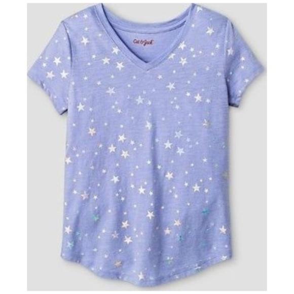 85b50fbb430 Cat & Jack Shirts & Tops | 420 New Cat Jack Purple Vneck Star Print ...